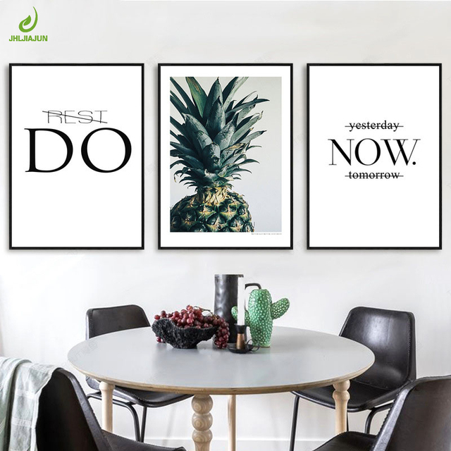 Jhljiajun canvas art prints green pineapple letter painting modern minimalist nordic drawing wall photo home decor