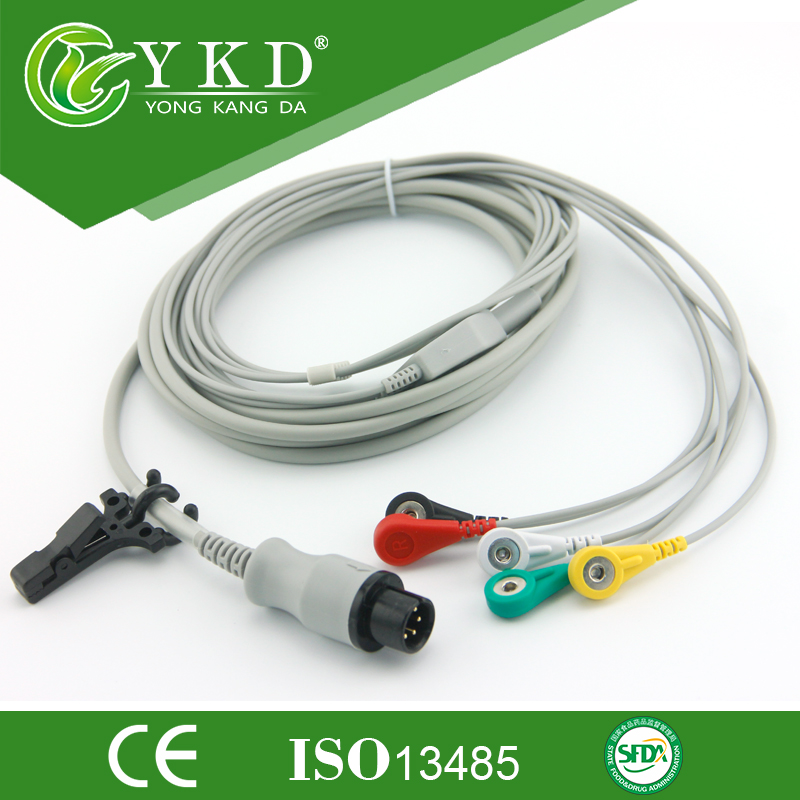 3pcs/pack Free Shipping GE One-piece Series Patient ECG Cable With Leads,6pin 5 Ecg Snap Leadwires