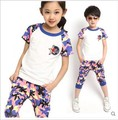 2015 new summer 3-8 years children's clothing boys/girls 1set 100% cotton summer kids clothes  children clothing bos.