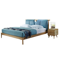 1121H101 All solid wood Nordic style Modern minimalist wedding king size bed Master bedroom furniture