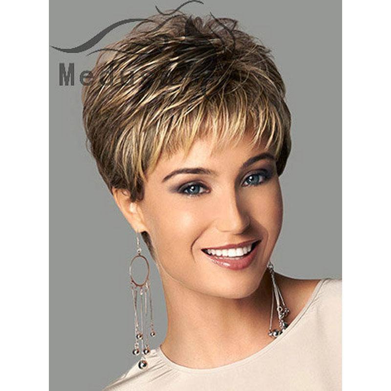 Celebrity lady wigs  Sassy Boy cut short pixie style wigs for women natural  wavy haircuts Synthetic brown wig with bangs SW0417 on Aliexpress.com  72b3349990
