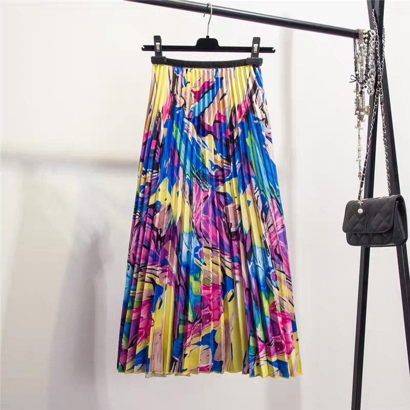 2019 Spring High Street A Line Vacation Pleated Skirt Women Floral Pattern Mid Calf Skirt