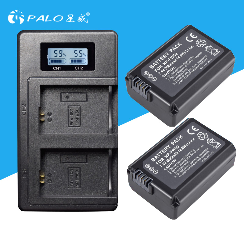 2 Unid para Sony NP-FW50 NP FW50 FW50 batería + LCD cargador para Sony A6000 NEX-7 NEX 5N F3 NEX-3D NEX-3DW NEX-3K NEX-5C alfa 7R II