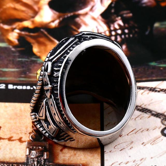 STAINLESS STEEL SKULL RIDER RINGS