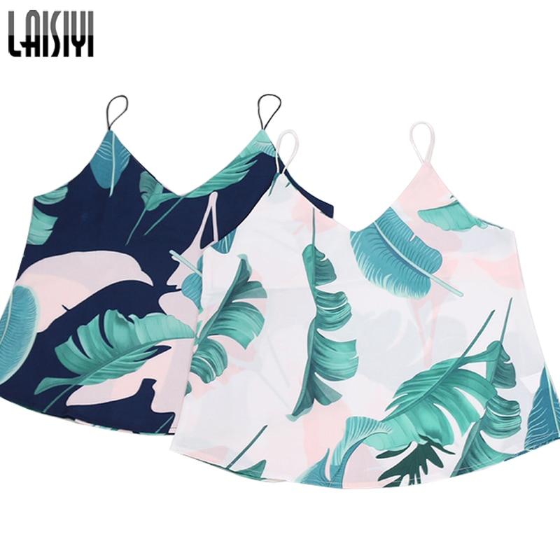 LAISIYI Summer Top Casual Leaf Print Sleeveless Tank Top Women V-neck Bohemian Sexy Top Beach Camisas Mujer ASVE20144