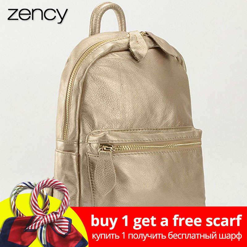 Zency New Design 100% Genuine Leather Women Backpack Preppy Style Schoolbag For Girls Ladies Travel Bag Bronze Knapsack Holiday