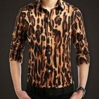 Frühling Sommer Britischen Mens Leopard Stilvolle Beiläufige Hemden Slim Fit Floral Gedruckt Langärmelige Shirts Trendy Plus Größe M-5XL