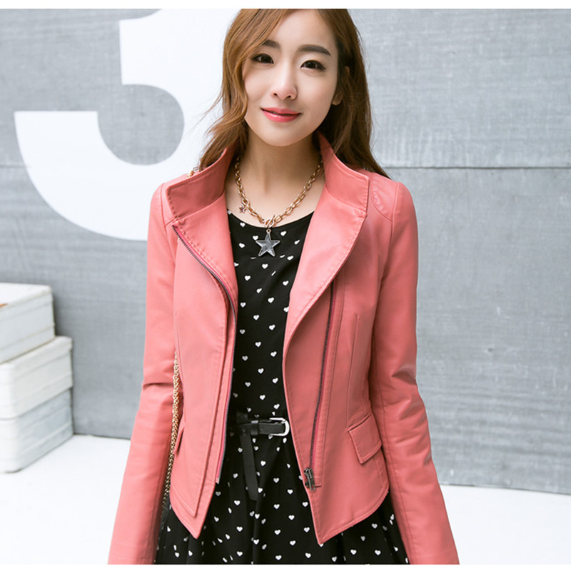 2017 spring new ladies leather Korean PU lady collar short section motorcycle leather jacket 15H108 in Leather Jackets from Women 39 s Clothing