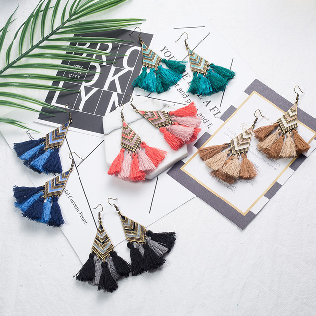 Ethnic earrings for women Cross long cloth tassel earring Dreamcatcher drop bohemia vintage statement boucle d'oreille brinco 4