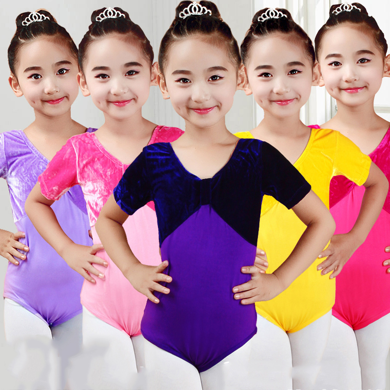 Ballet Gymnastics Leotard Girls Velvet Short Sleeve Bodysuit Kids Costumes Shapewear Ballerina Jumpsuit Practice Clothes DN2177