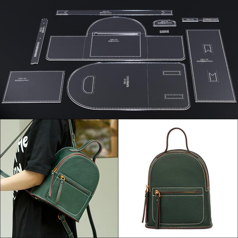 Lady Backpack Casual Mini Schoolbag Edition Design DIY Hand Made Leather Durable Acrylic Template  21.5x25x11.5cm