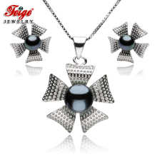 Flower-Shaped Pearl Jewelry Sets For Womens Black Natural Freshwater Pearls Pendant Necklace And Earrings Fine
