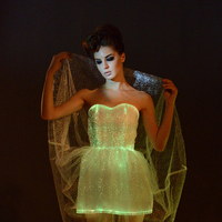 [CHENS SISTER] High Quality Custom A line Dress LED Tron Dance Wear Luminous Strapless Mini Dress Night Dress Women Party