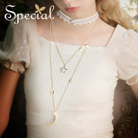 Special European and American fashion multi layer necklace lady clavicle lace Choker star tide sweater chain stars sea
