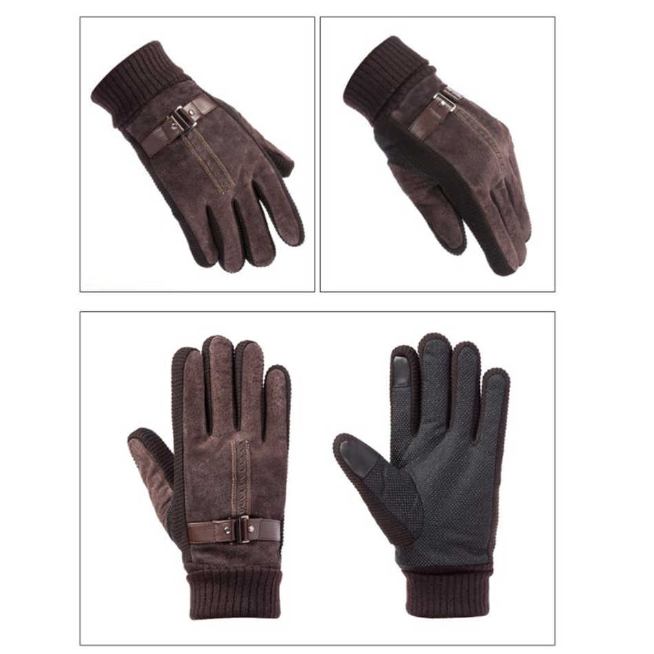 1b9b6e8ecb622 ... BUTTERMERE Pigskin Gloves Men Gloves Winter Real Leather Black Brown  Warm Male Gloves Leather Motorcycle For