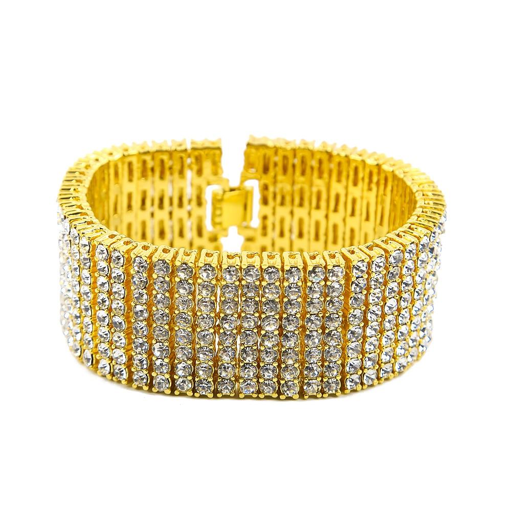 20.5cm 3cm Luxury Bracelet Men Bracelets for Women Fashion Jewelry Hip Top Bling Rhinestone Bracelets & Bangles Gifts Wholesale a suit of cute rhinestone elephants alloy bracelets for women page 4