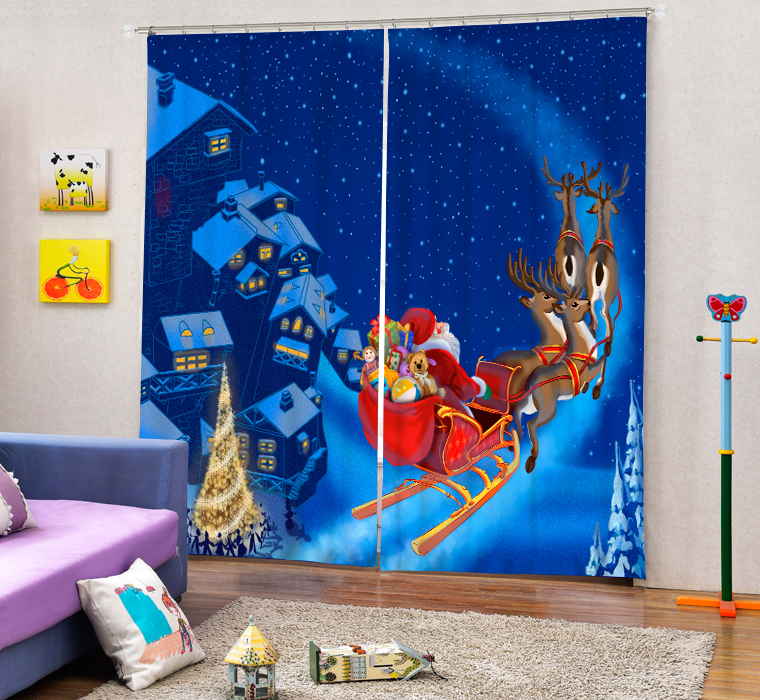Christmas Santa Claus And Deers 3D Painting Blackout Curtains Office Bedding Room Living Room Sunshade Window Custom made Size - 4