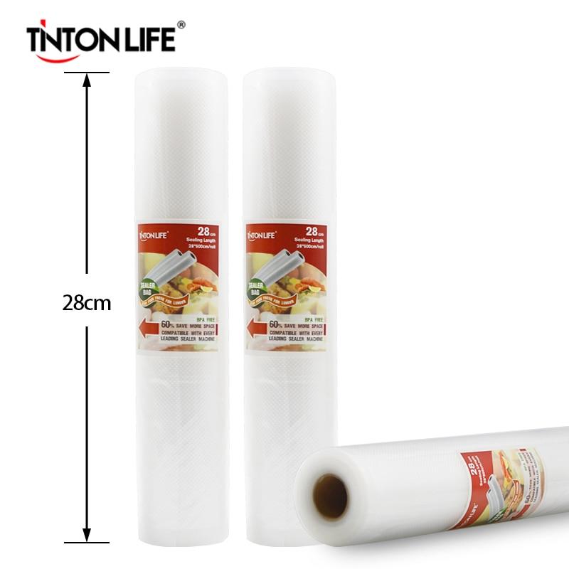 TINTON LIFE 28cmx500cm/Roll Vacuum Sealer Food Saver Bags Food Saran Wrap Storage Bags