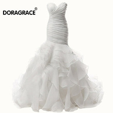 Doragrace vestidos de noiva Gorgeous Organza Ruffles Mermaid Bridal Gowns Wedding Dresses