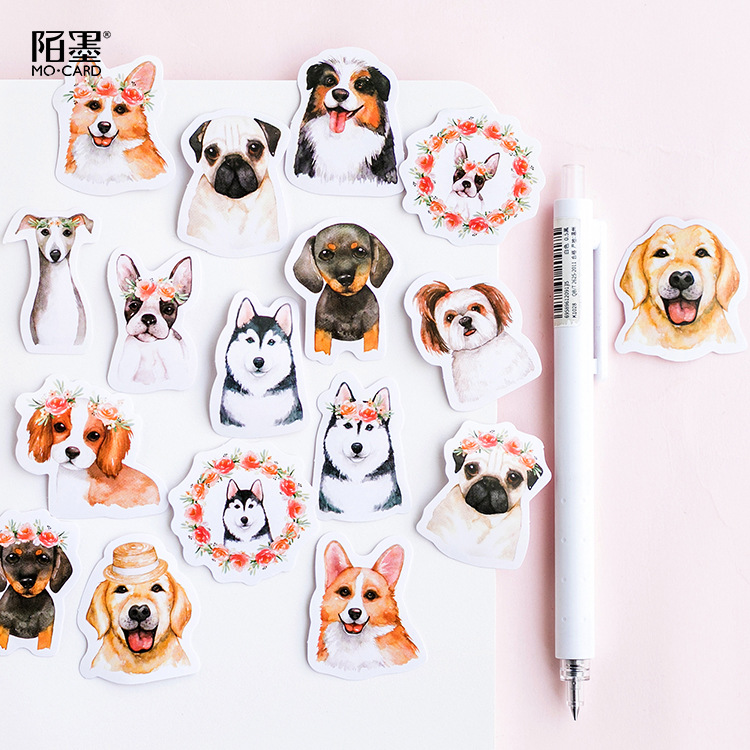 Wang Dog Pet Family Decorative Stickers Adhesive Stickers DIY Decoration Diary Stationery Stickers Children Gift creative watercolor afternoon tea decorative stickers adhesive stickers diy decoration diary stationery stickers children gift