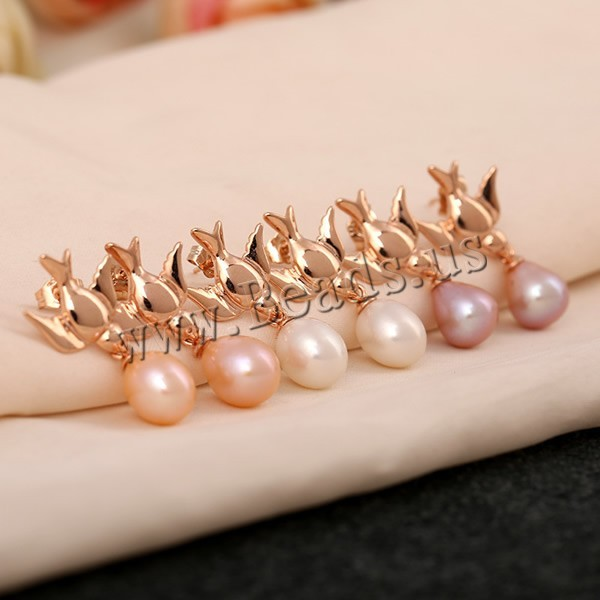 Freshwater Pearl Earrings  rose gold with mixed colors 9mm 2Pairs/Bag Sold By Bag