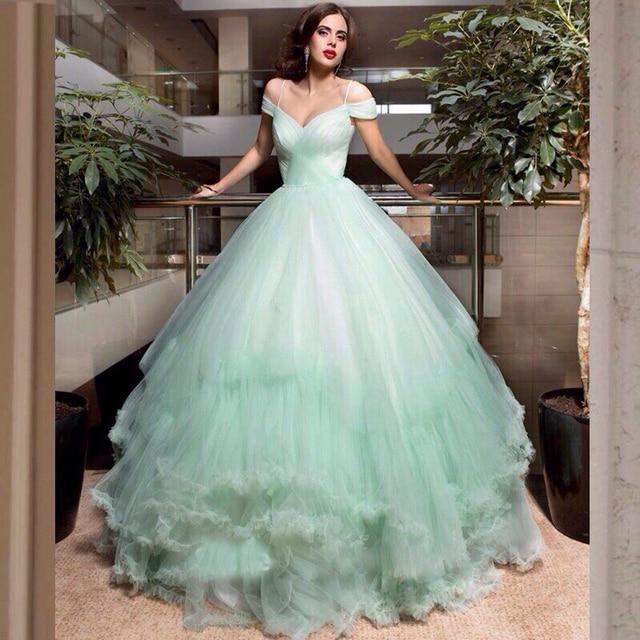 cabb76e724 US $268.0  Custom Made Romantic Light Green Wedding Dress 2017 Elegant Cap  Sleeve Ball Gown Tulle Women Marry Bridal Gown vestido de noiva-in Wedding  ...