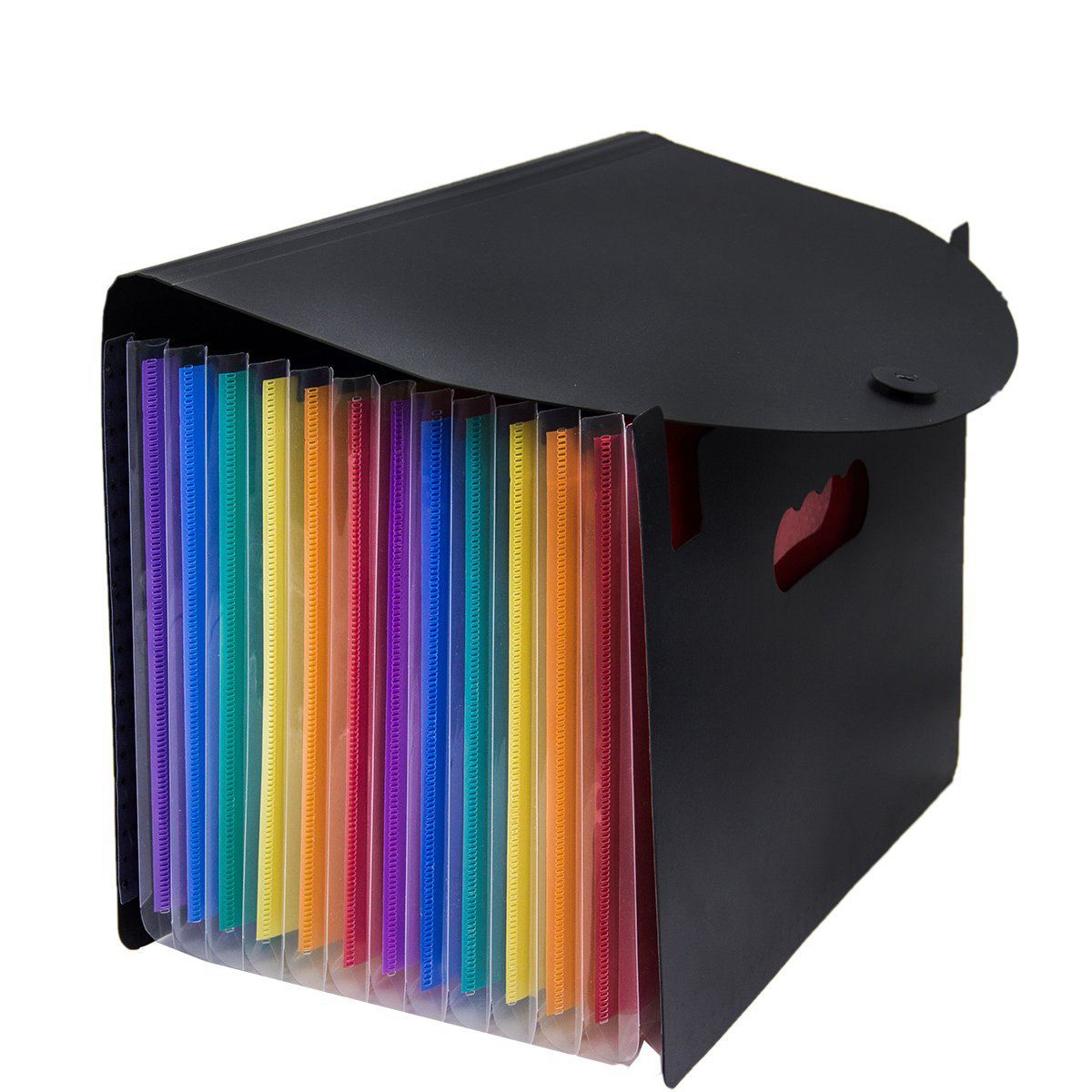 Expanding File Folder 12 Pockets, black Accordion A4 folder Document Bag Office School Supply 1 pc 13 index pockets layers document file folder expanding walle a4 size papers bag more to send a plastic ruler