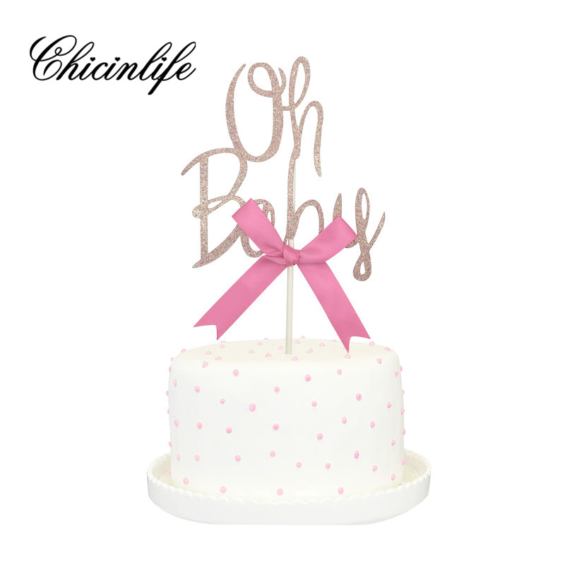 Chicinlife 1Pcs Gold Glitter Oh Baby Cake Topper 1St Birthday It's a Girl/Boy Cake Toppers Kids Party baby shower Decorations