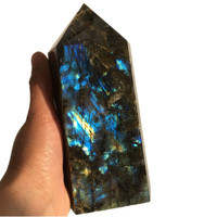 1.5kg Big size Natural labradorite Quartz Obelisk Large Crystal Wand Point quartz crystal gemstone tower reiki healing