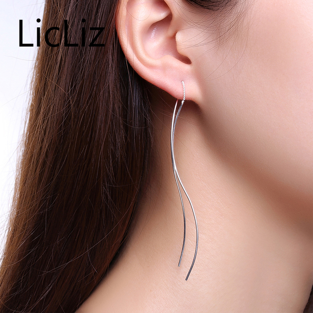 Licliz Simple Double Earrings Chain Line Thread Dangle Brinco 925 Sterling Silver Piercing Earring Fine