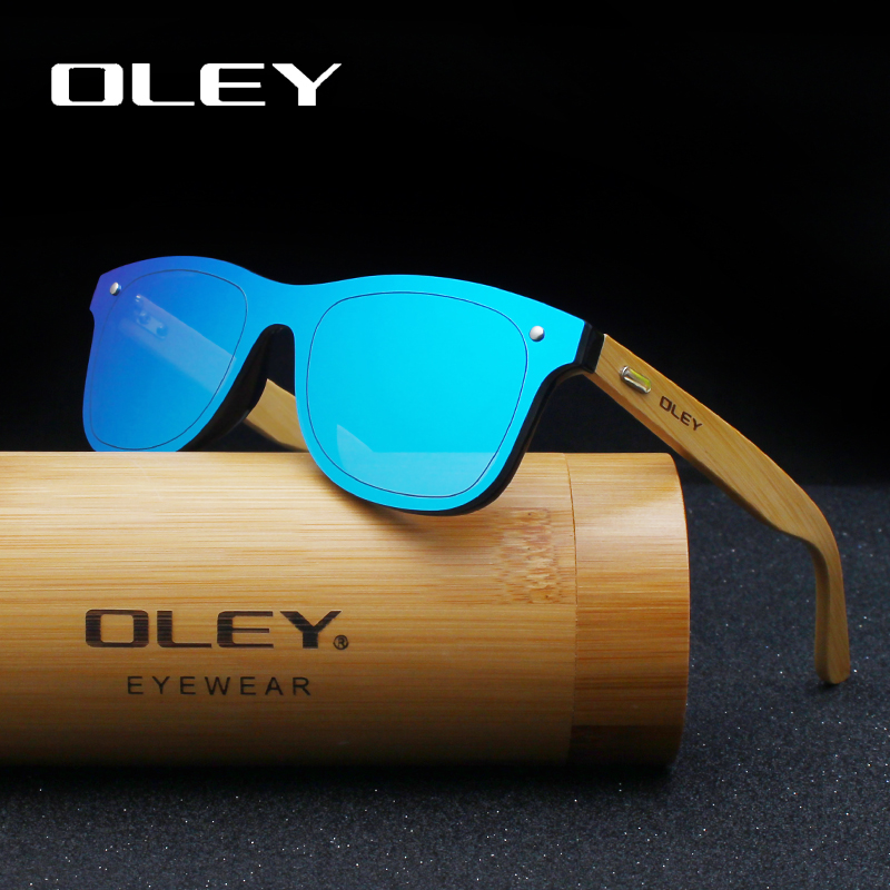 OLEY  Brand Bamboo Leg Color Film Sunglasses Men Classic Square Overall Flat Lens Fashion Retro Women sun glasses Z0470 plywood