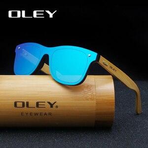 Солнцезащитные очки OLEY Z0470 для мужчин и женщин, брендовые Классические Солнечные аксессуары с бамбуковыми дужками и плоскими линзами, в сти...