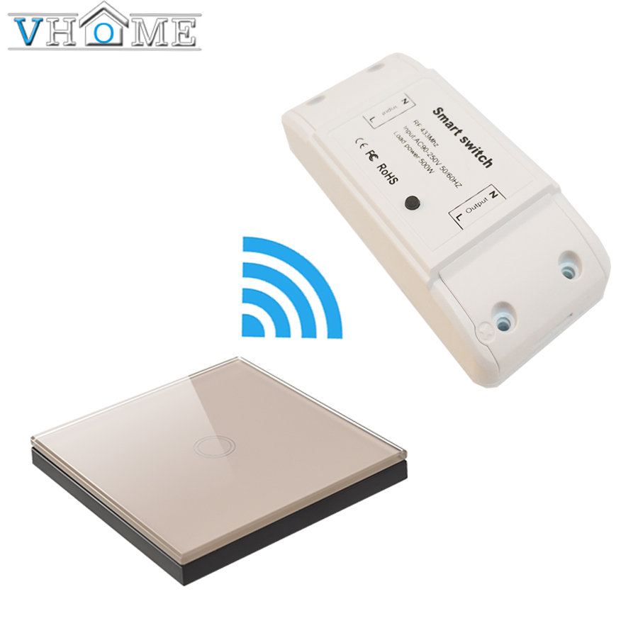 VHome EU/UK standard golden touch wireless remote control switch 433mhz1 RF receiver 170v-250v relay channel wall lamp 5A trans ifree fc 368m 3 channel digital control switch white grey