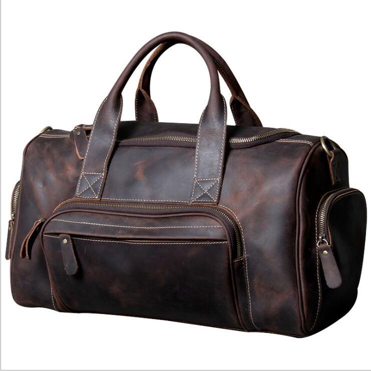MAHEU Durable Crazy Horse Leather Men Women Travel Bag Retro High Quality Grande Hand Duffle Bag