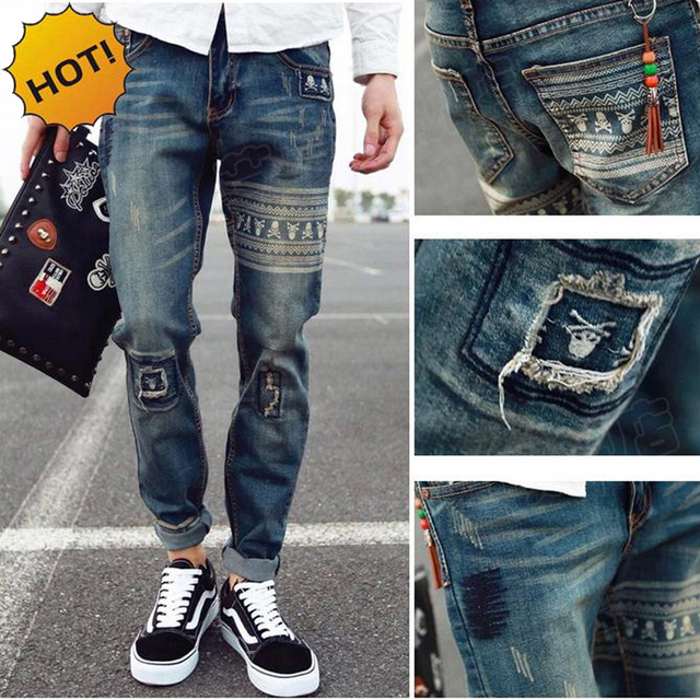 8cc27b8e2a5 Hot Style 2019 skull Printed Patch Retro Hip Hop Stretch Jeans Men Hole  Ripped Harem Pants Teenagers Casual Denim Bottoms 28-34
