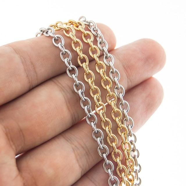 Ze stali nierdzewnej złoto srebro kolor Big Rolo O kształt naszyjnik łańcuch mężczyźni 4mm 6mm 8mm krzyż choker łańcuszek dla kobiet hurtownie 5 pcs