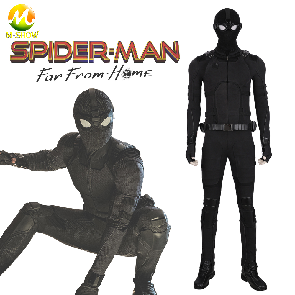 Spider-Man Far From Home Cosplay Stealth Suit Spider man Black Jumpsuit Superhero Zentai Suit for Halloween Party Custom Made