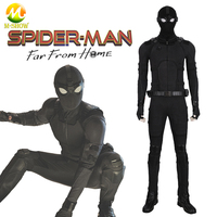 Spider Man Far From Home Cosplay Stealth Suit Spider man Black Jumpsuit Superhero Zentai Suit for Halloween Party Custom Made