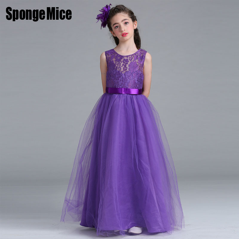4 14 year Christmas Kids Girls Wedding Lace Long Girl Dress elegant ...