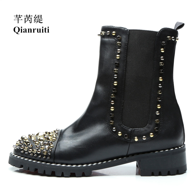 Qianruiti 2019 Fashion Design Spikes  Ankle Men Chelsea Boots Elastic Band Golden Rivets Male Shoes Round Toe Men Boot EU39-EU46Qianruiti 2019 Fashion Design Spikes  Ankle Men Chelsea Boots Elastic Band Golden Rivets Male Shoes Round Toe Men Boot EU39-EU46
