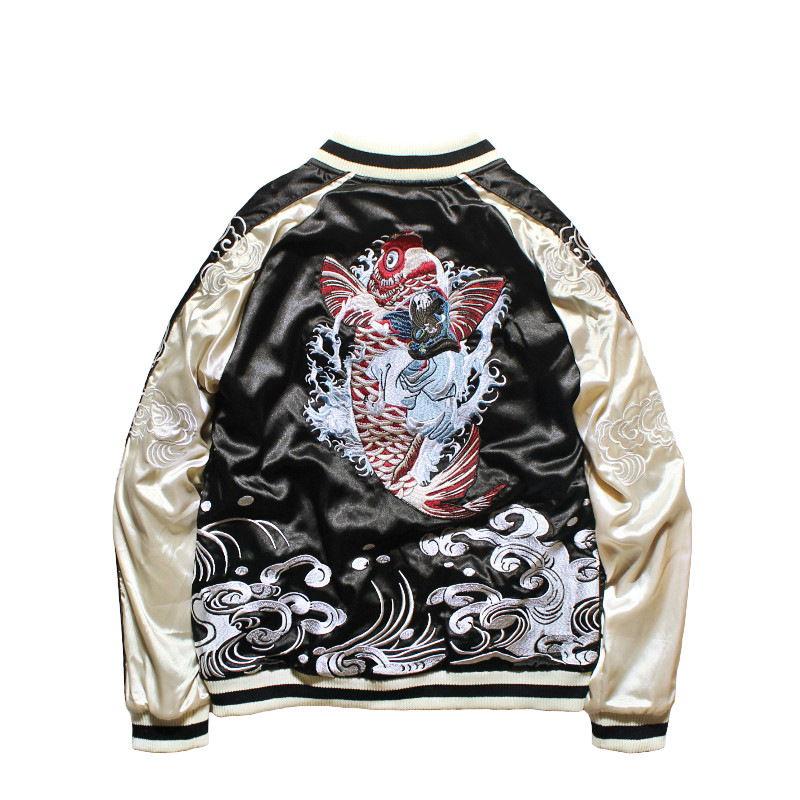 Japanese Style Jacket Double-sided Wear Yokosuka Jacket Male and Female Lovers Heavy Dragon Embroidered Pilot Bomber Jackets