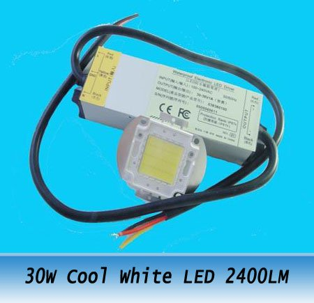 30W Cool White High Power 2400LM Led Lamp Beads + AC Driver