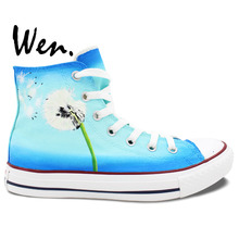 Wen Hand Painted Canvas Shoes Original Design Custom Dandelion Bule Background Man Woman's High Top Canvas Sneakers for Gifts