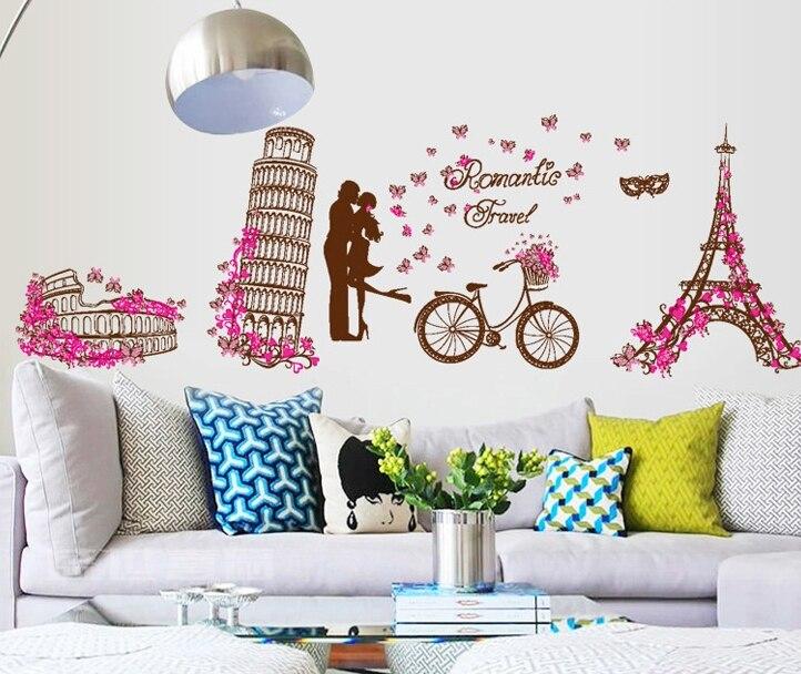 Aliexpress.com: Compre Romantic Women Paris Eiffel Tower Wall Stickers  Decals Girls Valentine Wallpaper Mural Lovers Couples Wedding Room Bedroom  Decor De ... Part 95