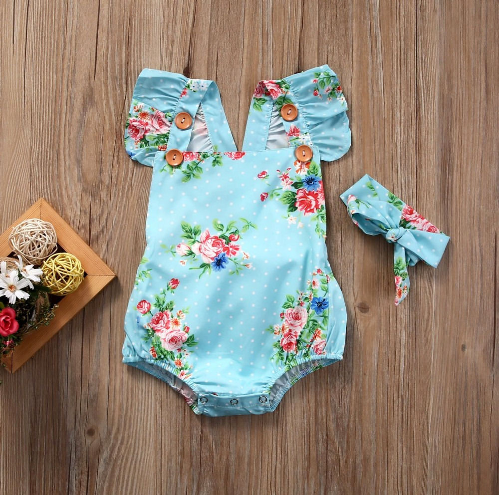 Cute-Baby-Girls-Floral-Cotton-Fly-Sleeve-Romper-One-piece-Sunsuit-Headband-Bule-Clothes-Set-4