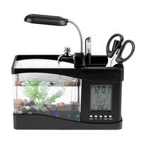 Mini Aquarium Fish Tank with LED Lamp Light USB Multi function Desktop Small Fish Tank LCD Display Screen and Clock Fish Tank