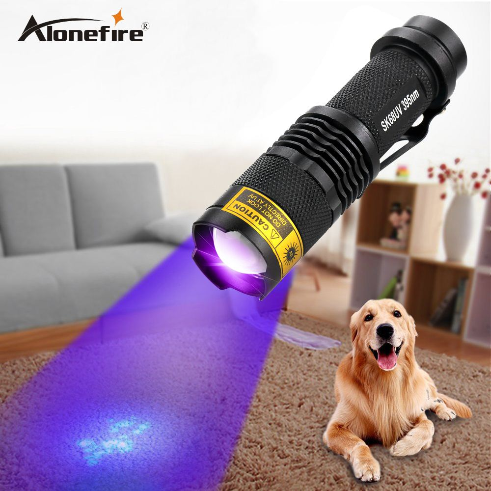ALONEFIRE SK68uv 395nm Zoomable Led UV Flashlight Torch Light Ultra Violet Light Blacklight UV Lamp AA Battery For Marker Check