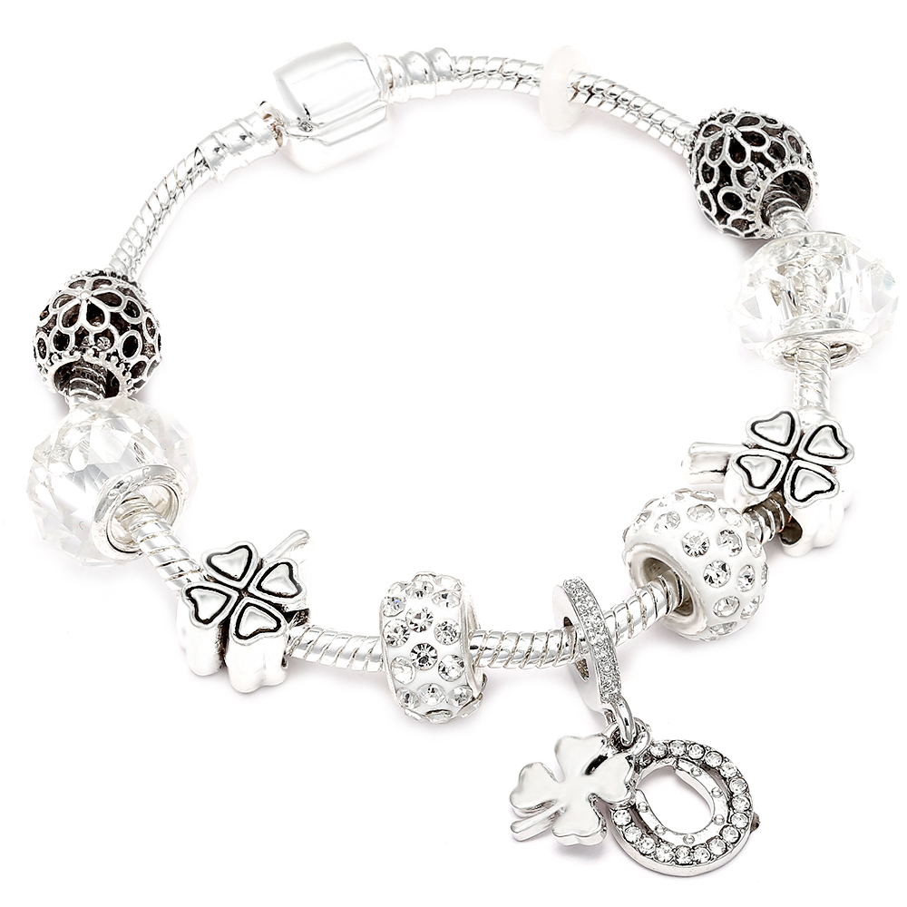 Sliver Color Four-leaf Clover Pendant Charm Bracelet fit Brand Bracelet For Woman Jewelry Accessories Gifts пандора браслет с шармами