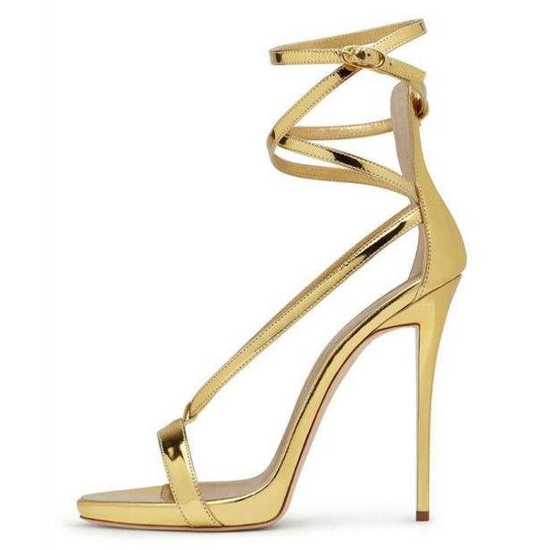 c1a2eb5ff60a3f Plus Size 45 Gold Silver Metallic Leather Sandals High Heels Women Strappy Sandals  Cut out Ankle Straps T bar Gladiator Shoes-in High Heels from Shoes on ...