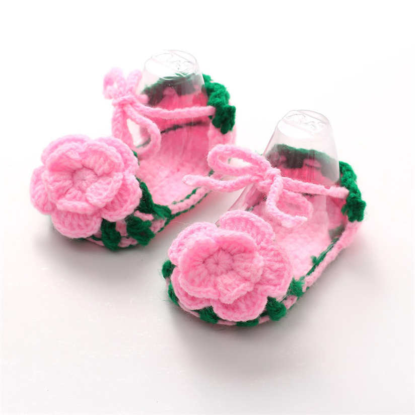 Baby Shoes Breathable shoes Crib Crochet Casual Baby Girls Handmade Knit Sock Roses Infant Shoes Soft with Free Shipping AP25